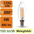 LED lámpa E14 Filament (4Watt/300°) Gyertya - meleg fehér