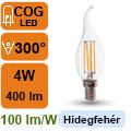LED lámpa E14 Filament (4Watt/300°) Láng - hideg fehér