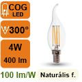 LED lámpa E14 Filament (4Watt/300°) Láng - természetes fehér