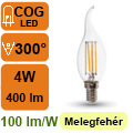 LED lámpa E14 Filament (4Watt/300°) Láng - meleg fehér