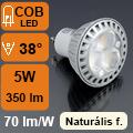 LED lámpa GU10 (COB LED/5Watt/38°) természetes fehér