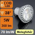 LED lámpa GU10 (COB LED/5Watt/38°) meleg fehér