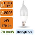 LED lámpa E14 (6Watt/200°) Láng - hideg fehér