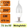 LED lámpa E14 (6Watt/200°) Láng - meleg fehér