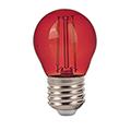 LED lámpa E27 Színes filament (2W/300°) Kisgömb - piros