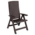 Montreal dönthető műanyag kerti szék (2db) - whiskey barna