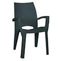 Spring  kartámaszos műanyag kerti szék - sötét zöld