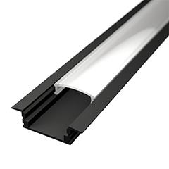 ALP-001 Aluminium U profil fekete - LED szalaghoz, opál burával