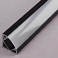 ALP-007 Aluminium sarok profil fekete, LED szalaghoz, opál burával