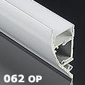 ALP-062 Aluminium oldalfali profil ezüst,  rejtett világításhoz, opál burával