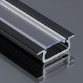 Type-Z - Süllyeszthető LED szalagos alu profil - fekete - átlátszó burával