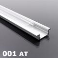 ALP-001 - Aluminium U profil ezüst, LED szalaghoz, átlátszó burával