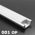 ALP-001 - Aluminium U profil ezüst, LED szalaghoz, opál burával