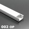 ALP-002 - Aluminium U profil ezüst, LED szalaghoz, opál burával