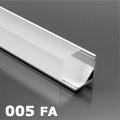 ALP-005 Aluminium sarok profil ezüst, LED szalaghoz, félig átlátszó burával