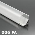 ALP-006 Aluminium sarok profil ezüst, LED szalaghoz, félig átlátszó burával