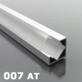 ALP-007 Aluminium sarok profil ezüst, LED szalaghoz, átlátszó burával
