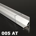 ALP-005 Aluminium sarok profil ezüst, LED szalaghoz, átlátszó burával