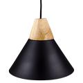 Skandi függeszték fa+alu (E27) - fekete burás