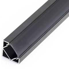 ALP-007 Aluminium sarok profil fekete, LED szalaghoz, fekete burával