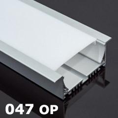 ALP-047 Aluminium U profil ezüst, gipszkartonba - álmennyezetbe, opál burával