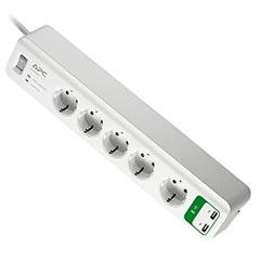 Surge Arrest túlfeszültségvédő elosztó (5 db Schuko aljzat +2 USB) 1,8 m vezetékkel, fehér