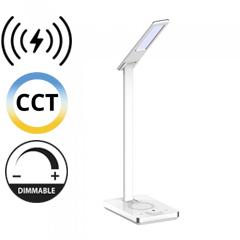Asztali LED lámpa (5W) változtatható színhőmérséklet, fényerőszabályozás, vezeték nélküli töltés funkció, fehér-ezüst