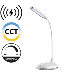 Asztali LED lámpa (4W) változtatható színhő + fényerőszabályozás, vezeték nélküli töltés funkció, fehér-ezüst