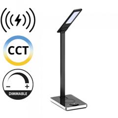 Asztali LED lámpa (5W) változtatható színhőmérséklet, fényerőszabályozás, vezeték nélküli töltés funkció, fekete-ezüst