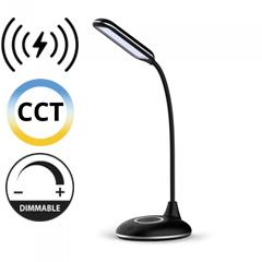 Asztali LED lámpa (4W) változtatható színhő + fényerőszabályozás, vezeték nélküli töltés funkció, fekete-ezüst