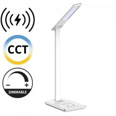 Asztali LED lámpa (5W) változtatható színhőm. + fényerőszabályozás, időzített kikapcs., vezeték nélküli töltés, fehér-ezüst