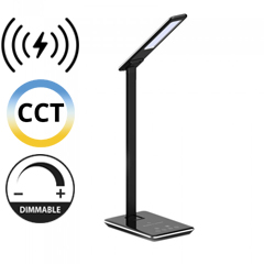 Asztali LED lámpa (5W) változtatható színhőm. + fényerőszabályozás, időzített kikapcs., vezeték nélküli töltés, fekete-ezüst