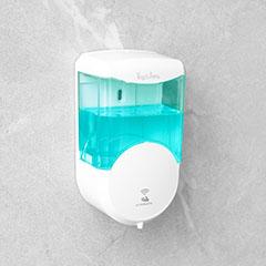 Falra szerelhető automata szappanadagoló (600 ml) fehér, átlátszó tartály
