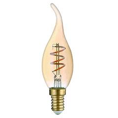 E14 LED izzó Vintage filament (3W/360°) Csavart gyertya láng - meleg f.
