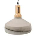 Siva beton + fa burás csillár (E27) szürke