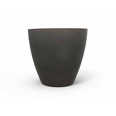 Beton L műanyag kerek virágláda (40 cm) - sötétszürke