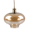Drop üveg+fém függőlámpa (E27) - borostyán bura