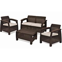 Corfu box műrattan kerti bútor szett tároló asztallal (Limitált) barna - bézs