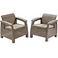 Corfu duo műrattan kerti fotel szett - cappuccino - homok