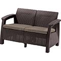Corfu love seat műrattan kerti 2 üléses kanapé - barna - szürke-bézs