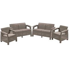 Corfu rest műrattan kerti fotel és kanapé szett - cappuccino - homok