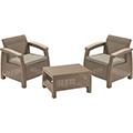 Corfu Weekend kerti bútor, balkon szett (műrattan fotel kávézó asztallal) - cappuccino - homok