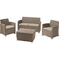 Corona műrattan kerti bútor szett tároló asztallal - cappuccino - homok