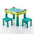 Kreatív műanyag játszó asztal 2 székkel - világos zöld - türkiz