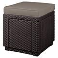 Cube műrattan ülőke párnával - barna - szürke-bézs
