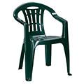 Mallorca kartámaszos műanyag kerti szék - sötét zöld