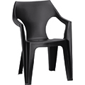 Dante kartámaszos alacsony támlás műanyag kerti szék - barna
