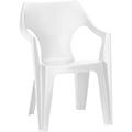 Dante kartámaszos alacsony támlás műanyag kerti szék - fehér