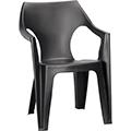 Dante kartámaszos alacsony támlás műanyag kerti szék - grafit