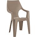 Dante kartámaszos magas támlás műanyag kerti szék - cappuccino
